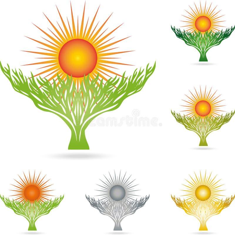 Árvore, planta, natureza, Sun, colorido, logotipo ilustração do vetor