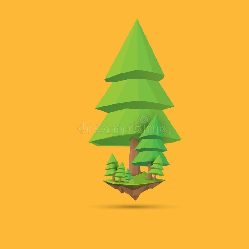 Árvore poli do estilo do ponto baixo verde do verão isolada no fundo alaranjado Elemento verde abstrato do projeto da árvore para ilustração do vetor