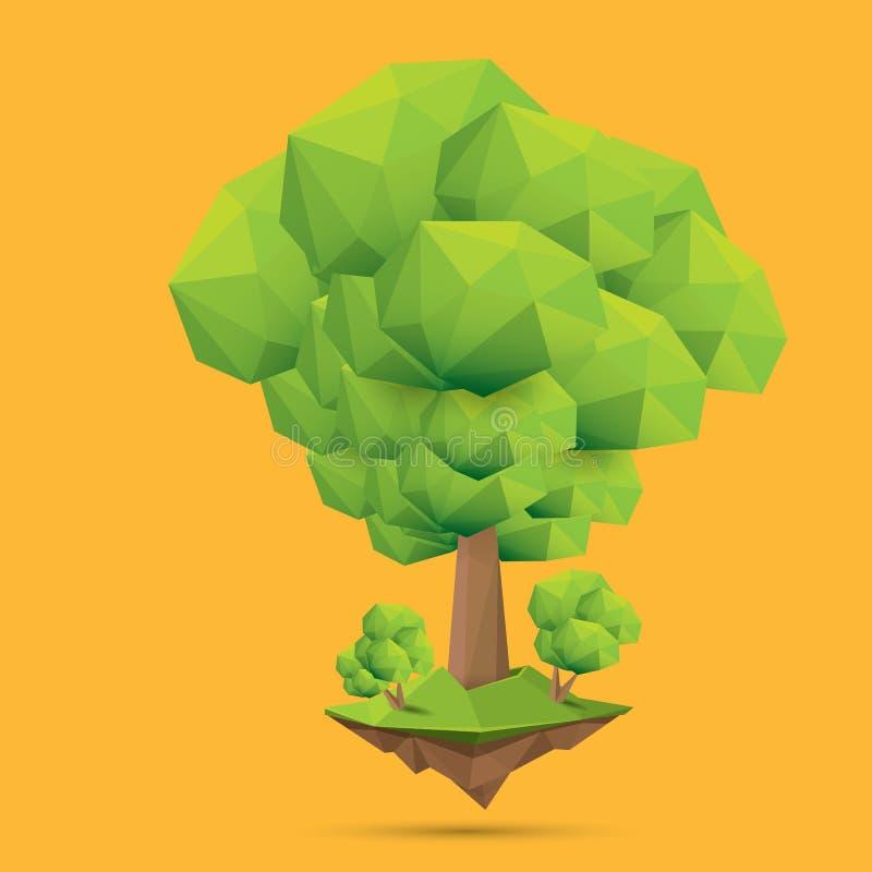 Árvore poli do estilo do ponto baixo verde do verão isolada no fundo alaranjado Elemento verde abstrato do projeto da árvore para ilustração stock