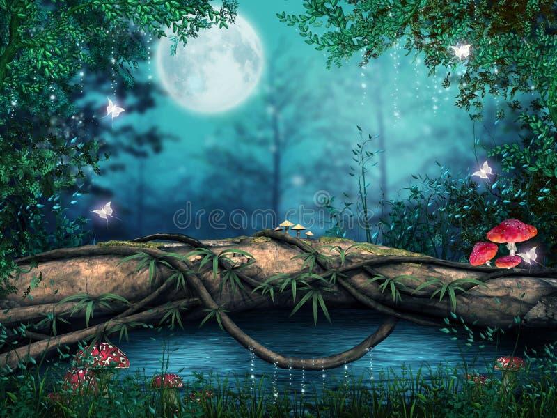 Árvore por uma lagoa ilustração royalty free