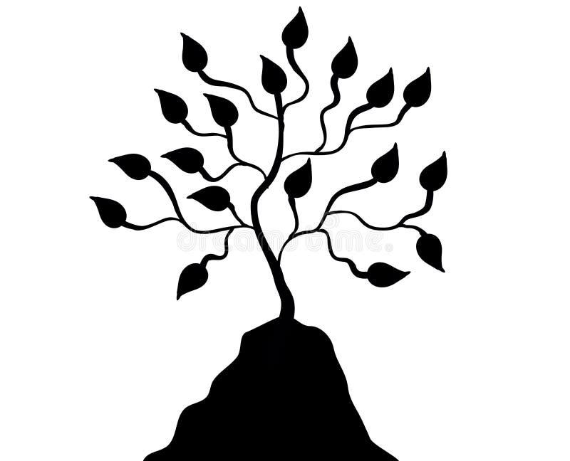 Árvore preta da silhueta no monte ilustração stock