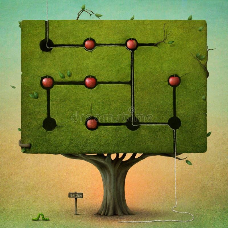 Árvore quadrada com maçãs. ilustração stock