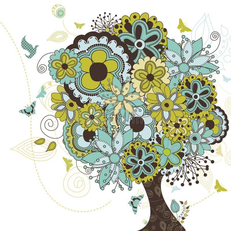 Árvore que estoura com flores ilustração stock