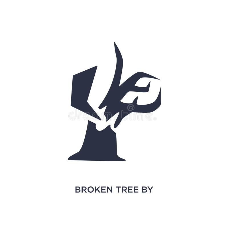 árvore quebrada pelo ícone do vento no fundo branco Ilustração simples do elemento do conceito da meteorologia ilustração do vetor