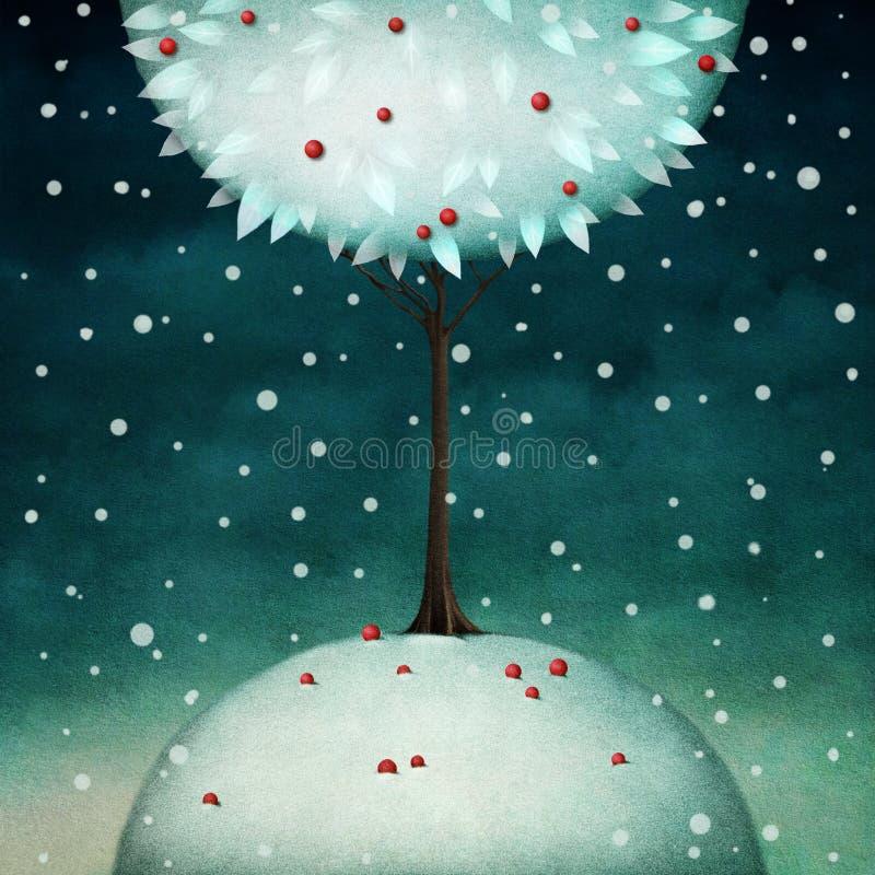 Árvore redonda bonita do inverno ilustração royalty free