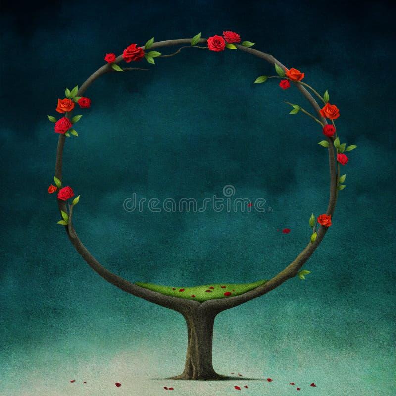 Árvore redonda com rosas. ilustração stock