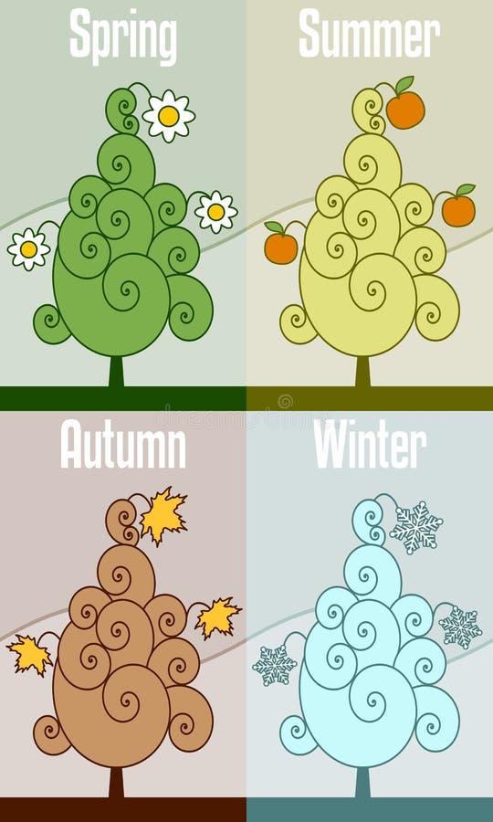 Árvore retro de quatro estações ilustração royalty free
