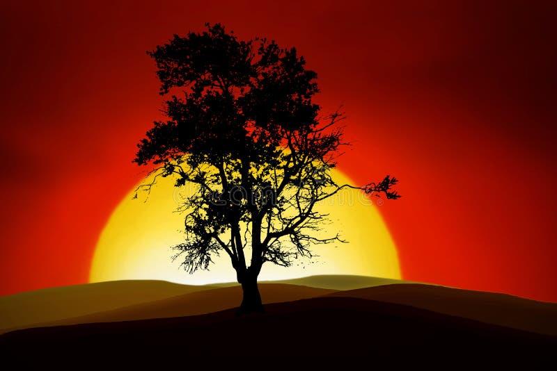 Árvore romântica ilustração do vetor