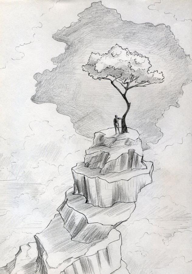 Árvore só na parte superior da montanha ilustração stock