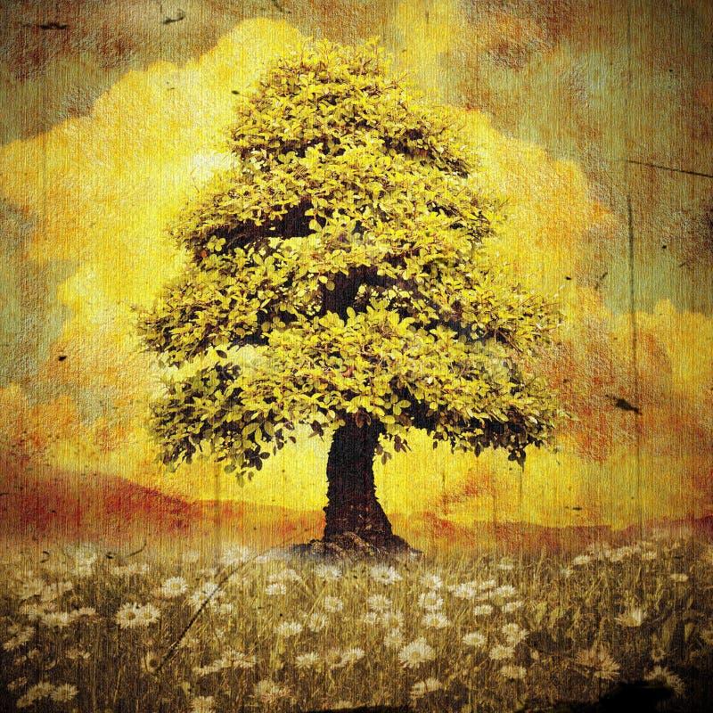 Árvore só no prado com estilo do grunge das margaridas foto de stock