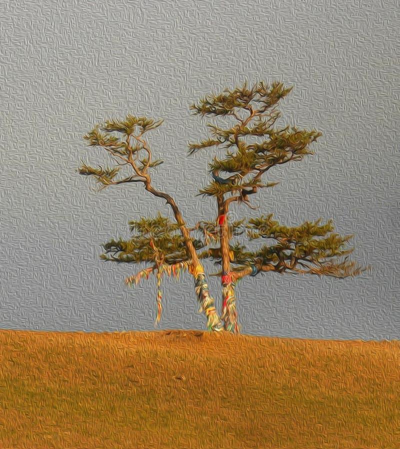 A árvore sagrado para a adoração, pinho com fitas coloridas Hadak no fundo do céu, ilha Olkhon, Baikal, Rússia, ilustração simula ilustração stock