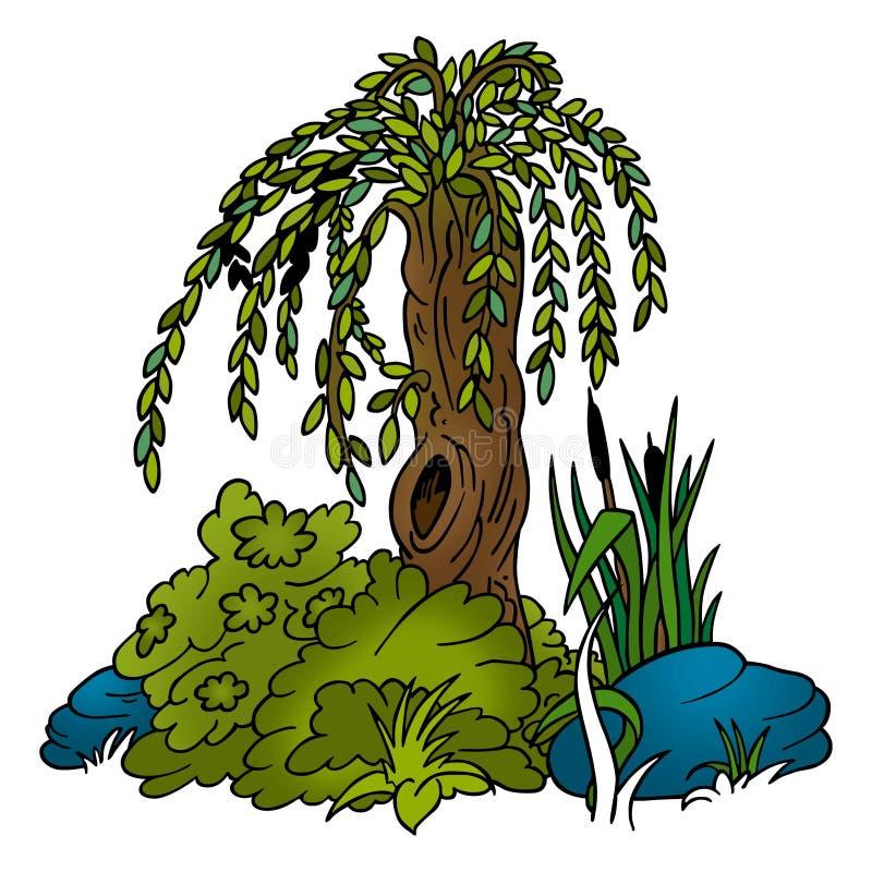 Árvore - salgueiro ilustração stock