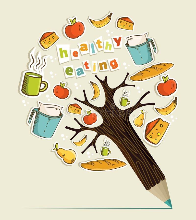 Árvore saudável do lápis do conceito do alimento ilustração stock