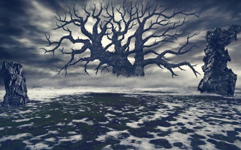 Árvore secada e pedras que colam fora da terra ilustração do vetor