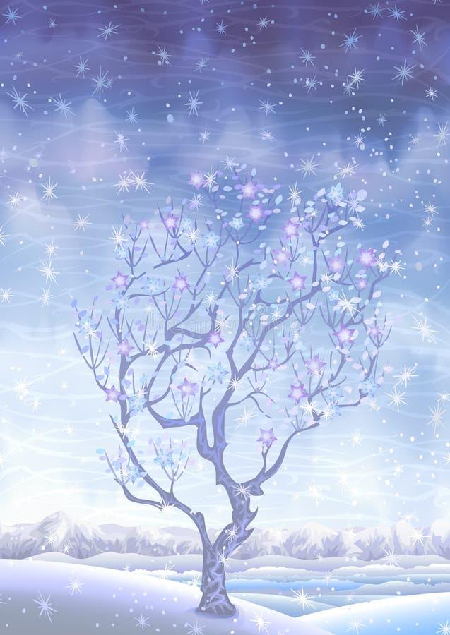 Árvore snow-covered de florescência do fairy-tale do inverno ilustração royalty free