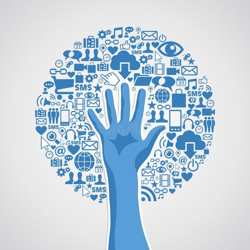 Árvore social do conceito da mão das redes dos meios ilustração do vetor