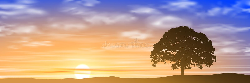 Árvore solitária ilustração do vetor