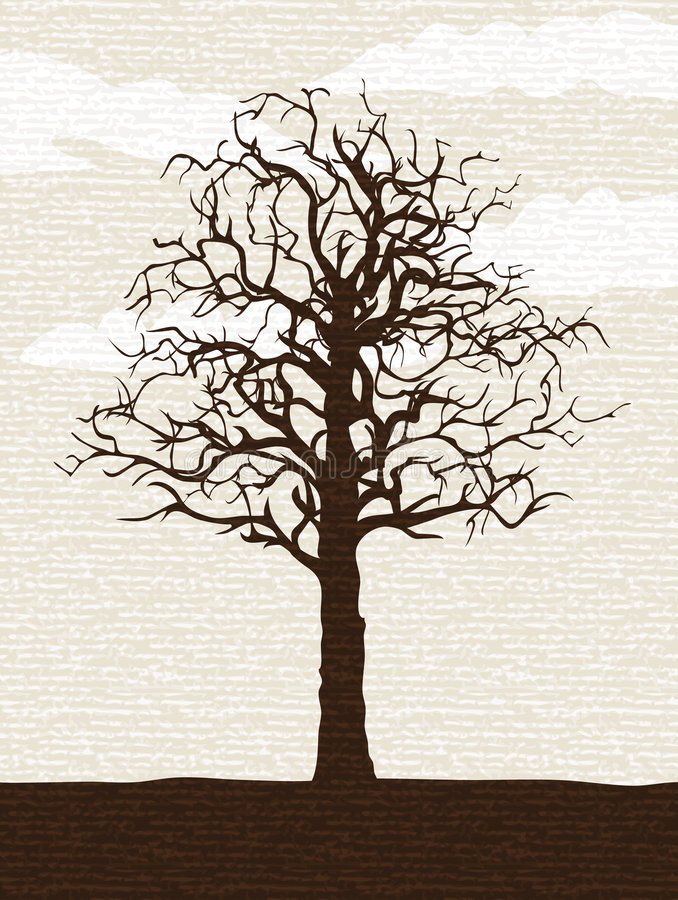 Árvore solitária desencapada ilustração do vetor