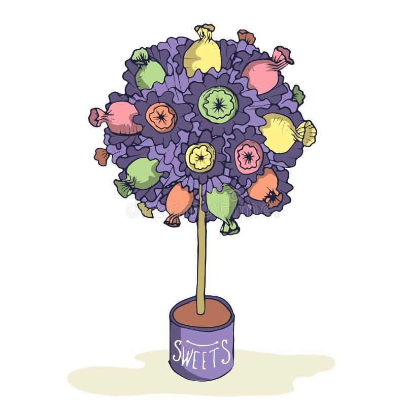 Árvore tirada mão dos doces fotografia de stock royalty free