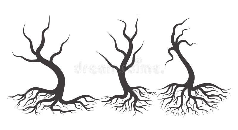 Árvore três preta completa com raizes ilustração stock