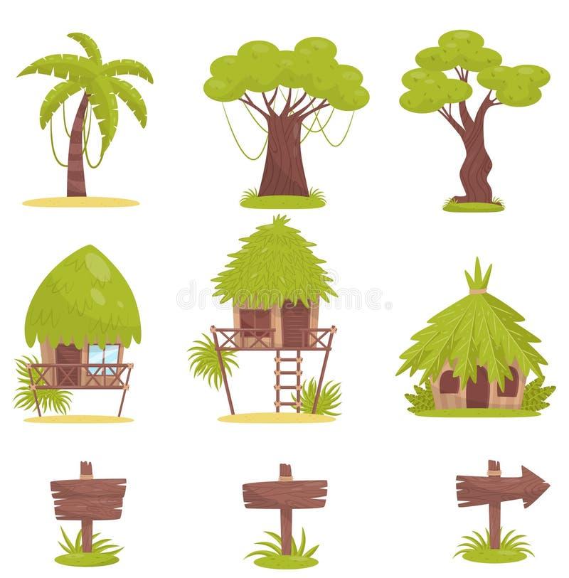 Árvore tropical, bungalows e sinais de estrada de madeira velhos, elementos do projeto do vetor tropical da paisagem da floresta  ilustração do vetor