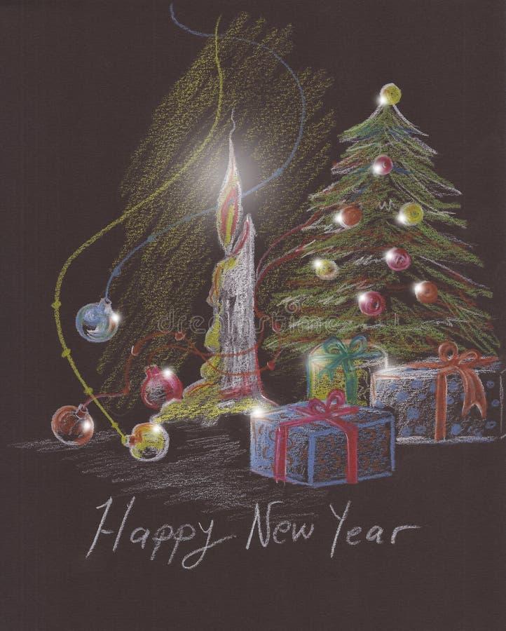 Árvore, vela e presentes de Natal ilustração stock