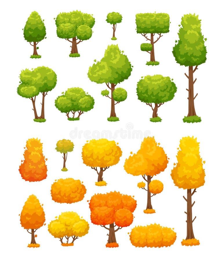 Árvore velha grande Plantas de madeira bonitos e arbustos As árvores verdes e amarelas do outono vector elementos da paisagem ilustração royalty free