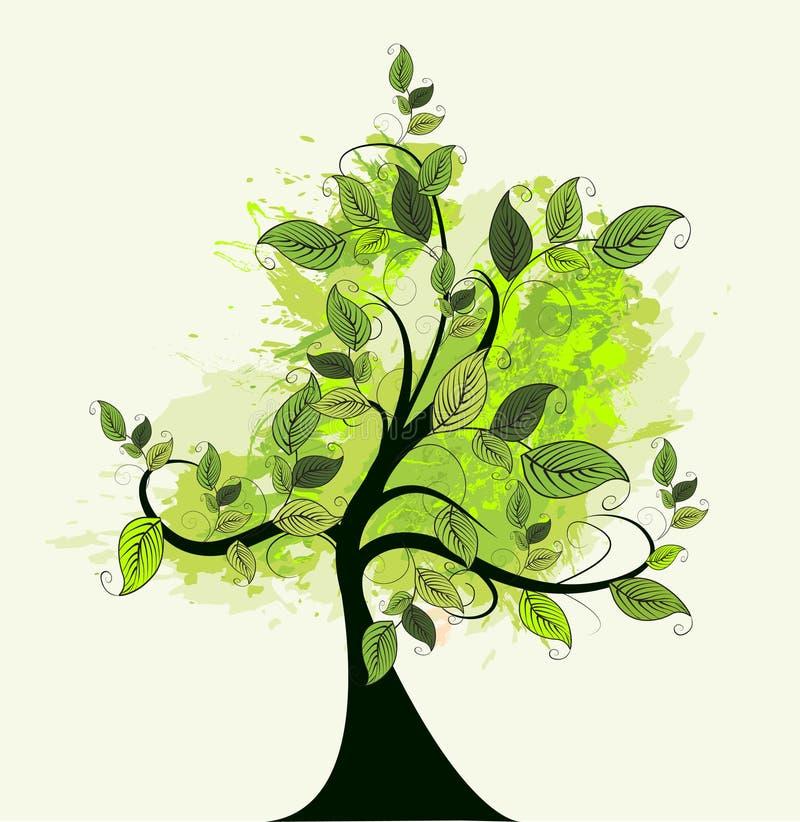 Árvore verde abstrata ilustração do vetor