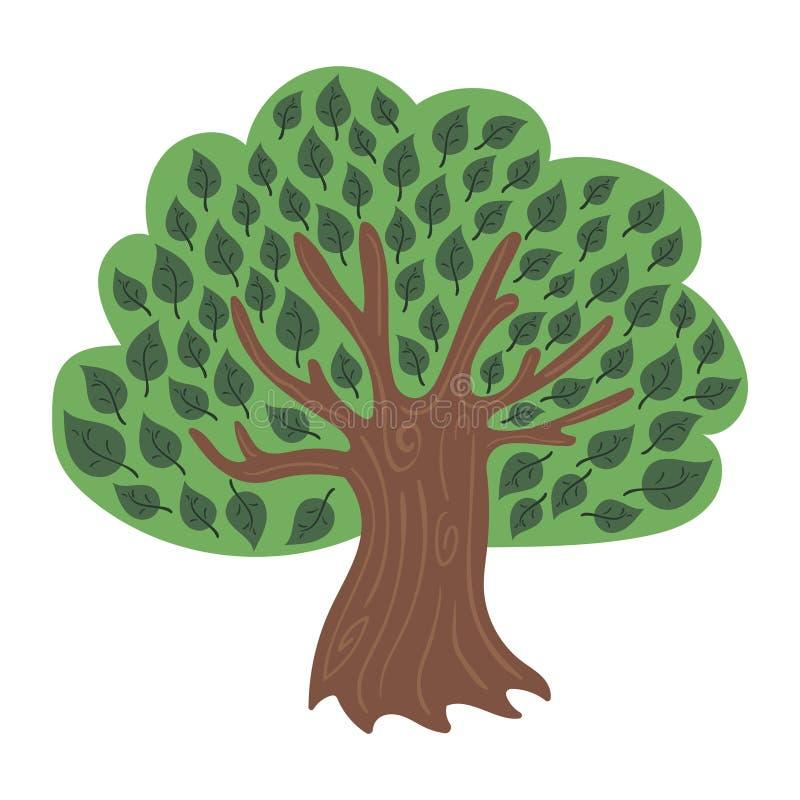Árvore verde-cartoon Ilustração colorida de árvore para crianças Plantas de desenho ilustração do vetor
