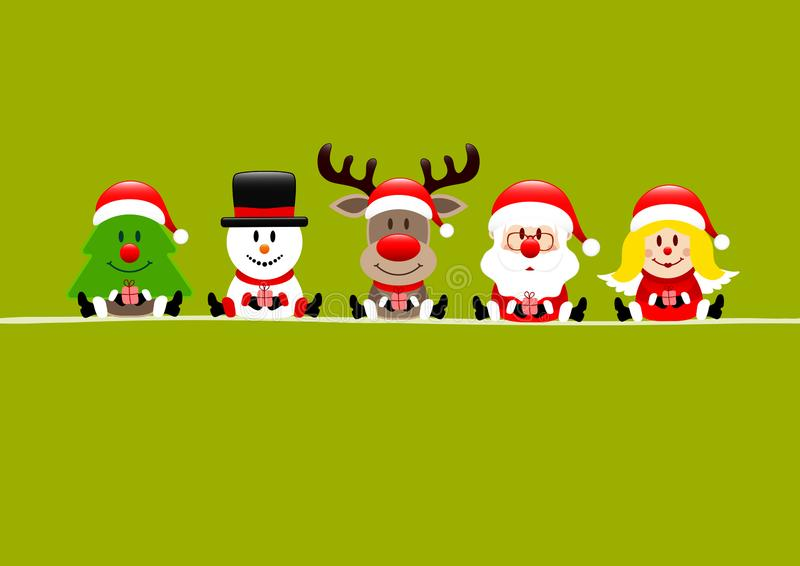 Árvore Verde Clara Snowman Reindeer Santa E Angel ilustração stock