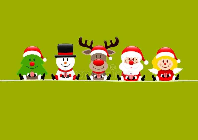 Árvore Verde Clara Snowman Reindeer Santa E Angel ilustração do vetor