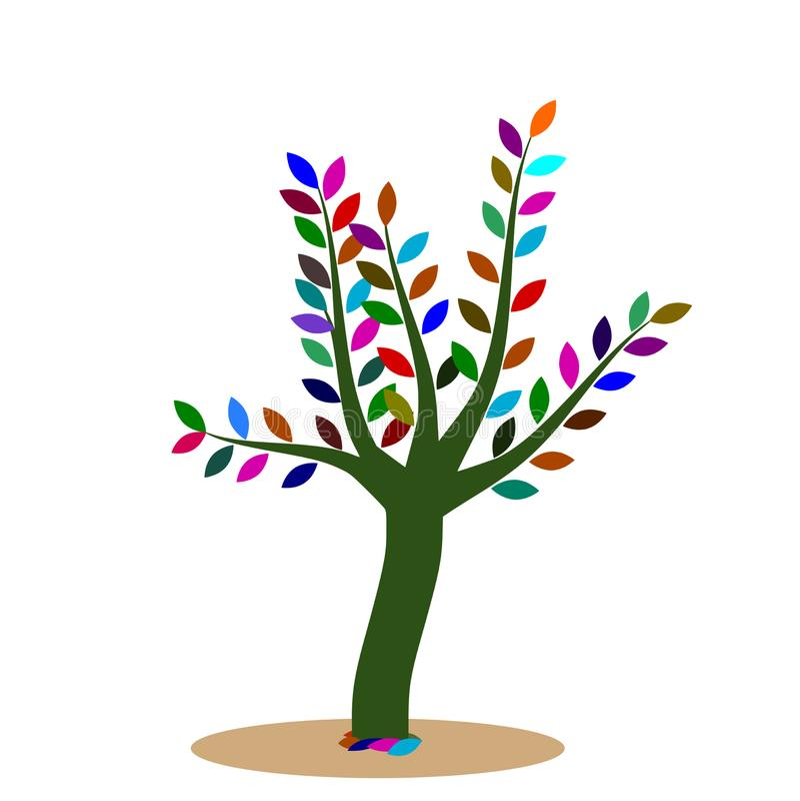 A árvore verde com folhas coloridas vector a ilustração que indica um ambiente saudável ilustração do vetor