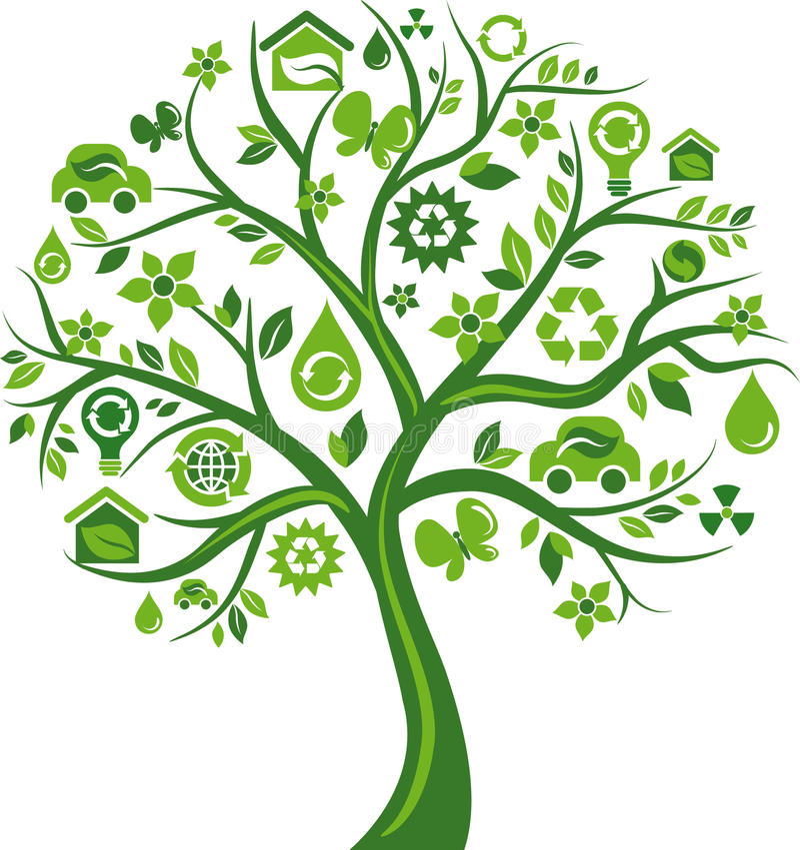 Árvore verde com muitos ícones ambientais ilustração royalty free