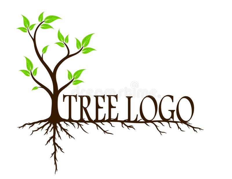 Árvore verde com raizes ilustração stock
