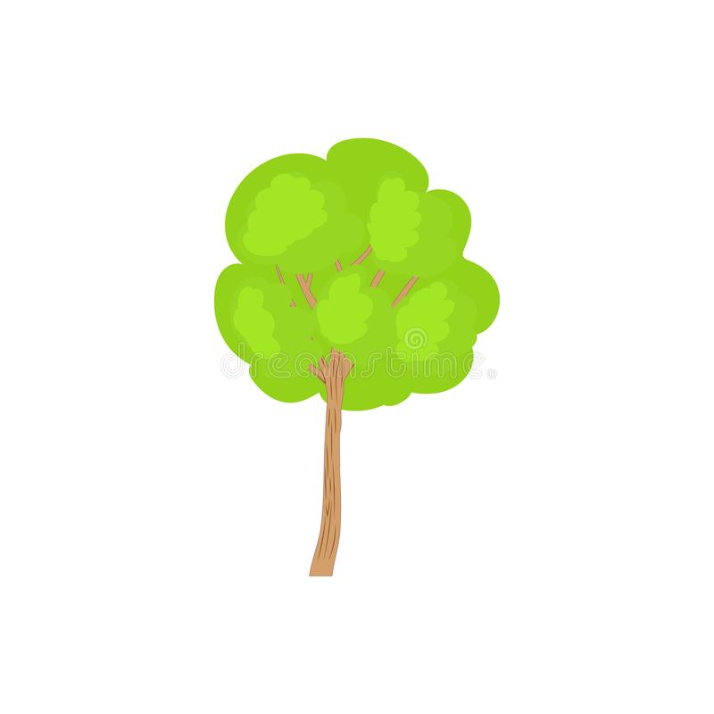 Árvore verde com um ícone arredondado da coroa ilustração stock