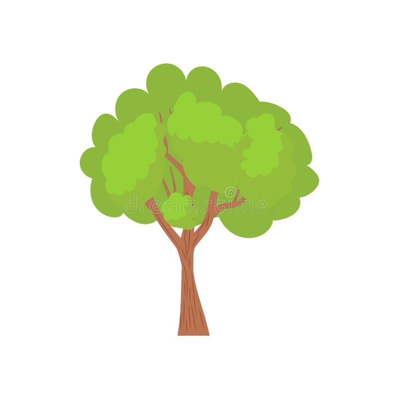 Árvore verde com um ícone arredondado da coroa ilustração royalty free