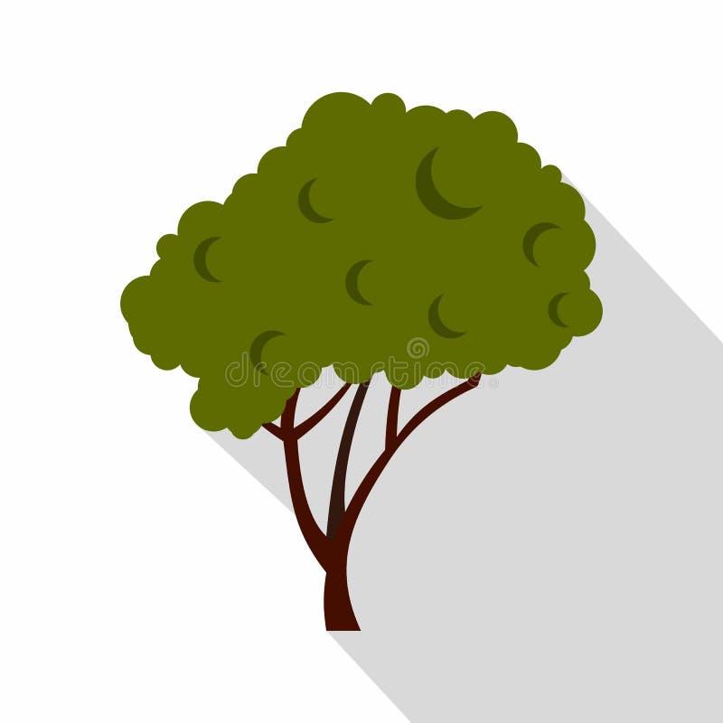 Árvore verde com um ícone arredondado da coroa, estilo liso ilustração do vetor