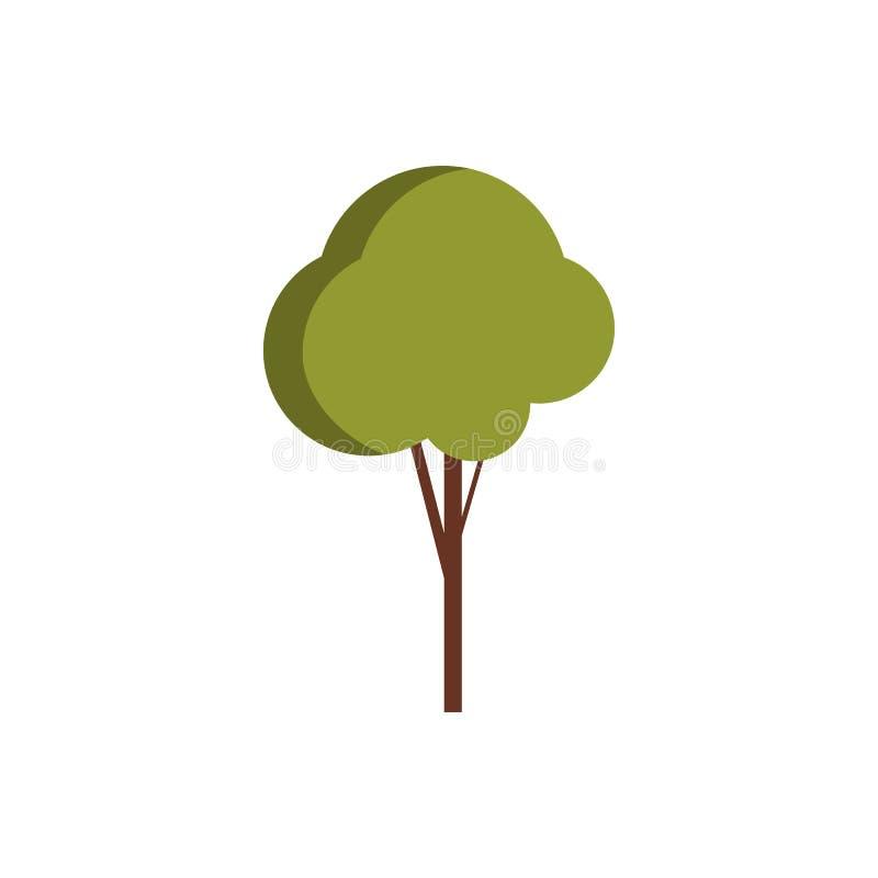 Árvore verde com um ícone arredondado da coroa, estilo liso ilustração stock