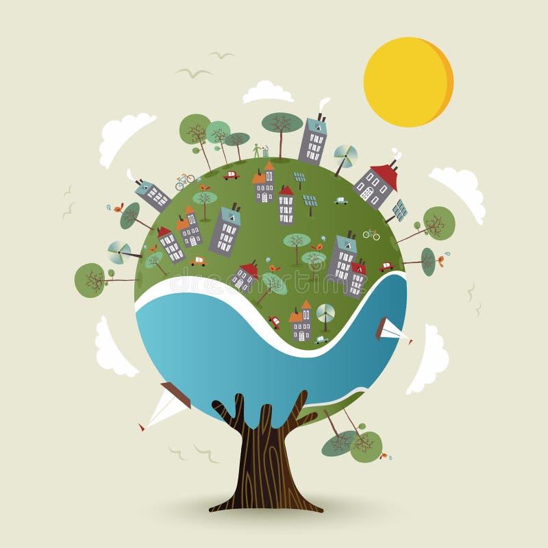 Árvore verde da terra do planeta com cidade sustentável ilustração do vetor