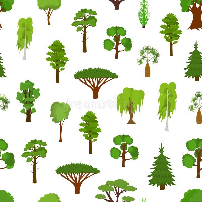 A árvore verde diferente datilografa o fundo sem emenda do teste padrão Vetor ilustração stock