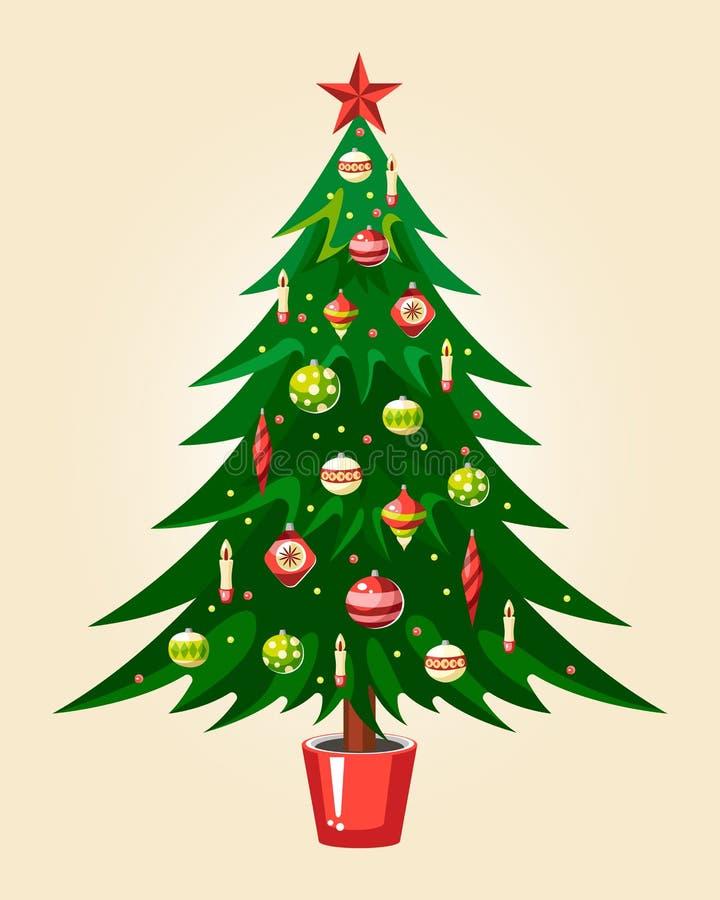 Árvore verde do Natal com velas e a festão bautiful dos brinquedos ilustração do vetor