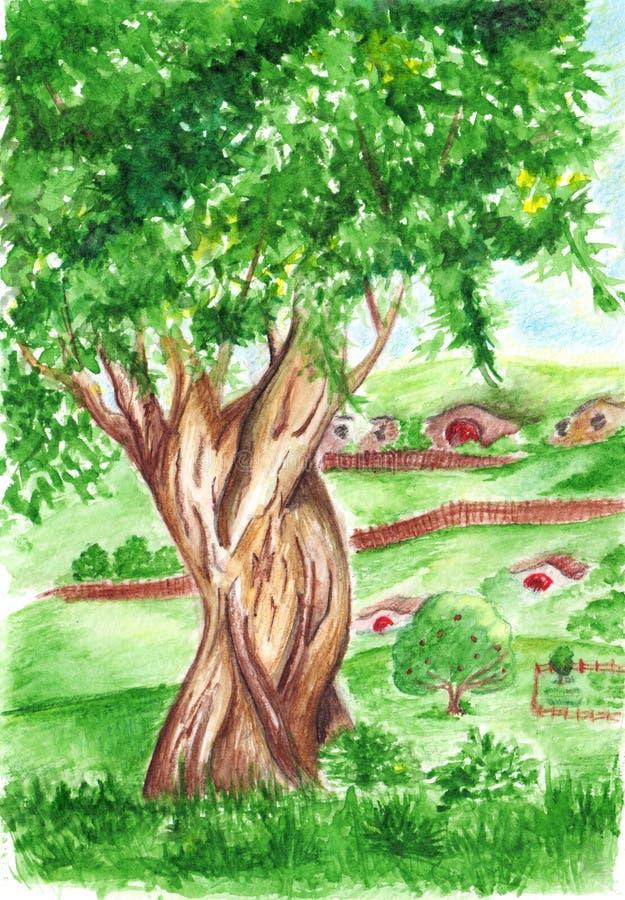 Árvore verde grande da aquarela na paisagem da vila ilustração do vetor