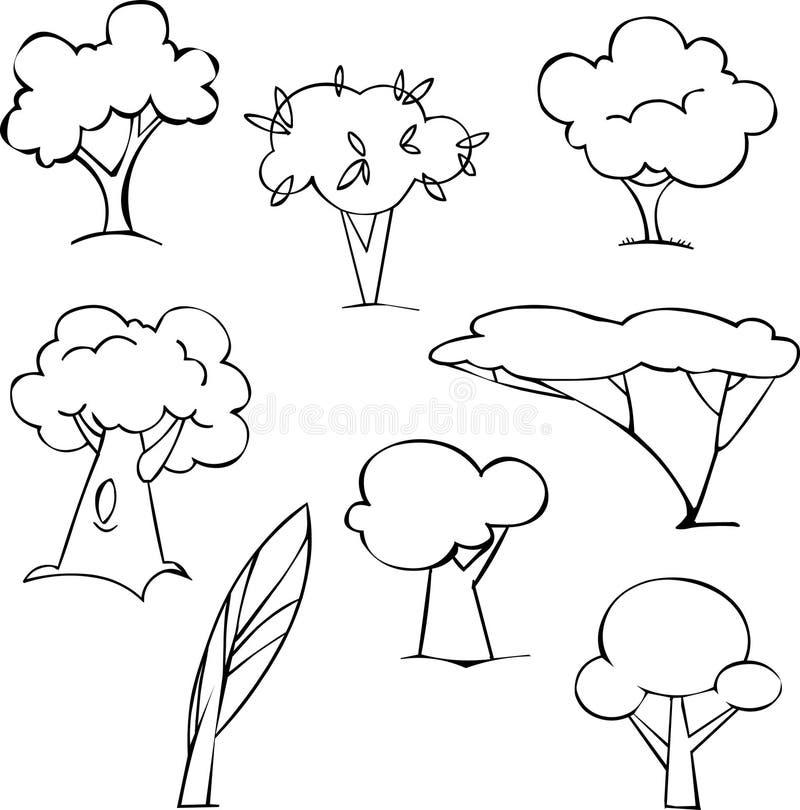 Árvores ajustadas ilustração stock