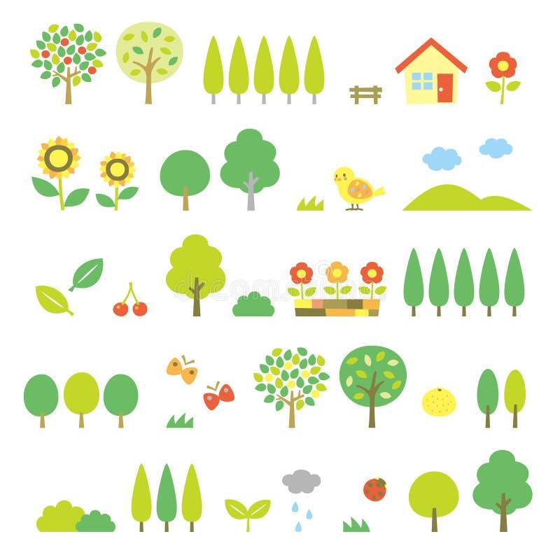 Árvores ajustadas ilustração royalty free