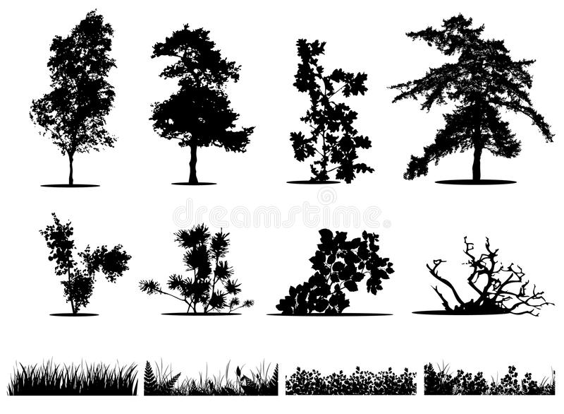 Árvores, arbustos e silhuetas da grama ilustração stock