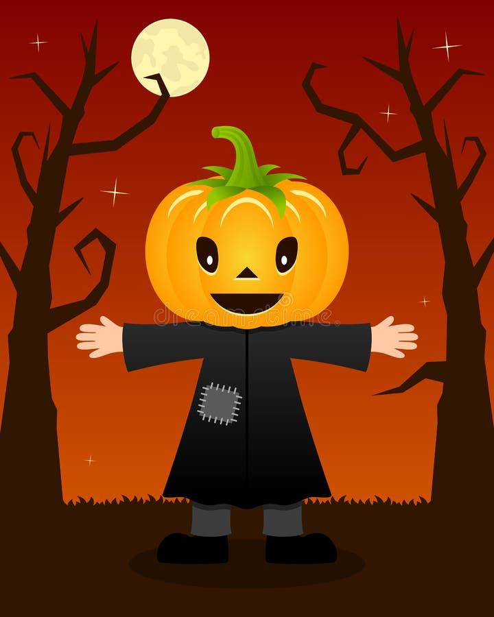 Árvores assustadores de Dia das Bruxas com espantalho ilustração stock