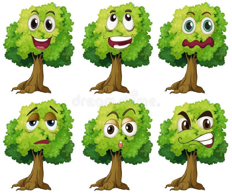Árvores com cara ilustração stock