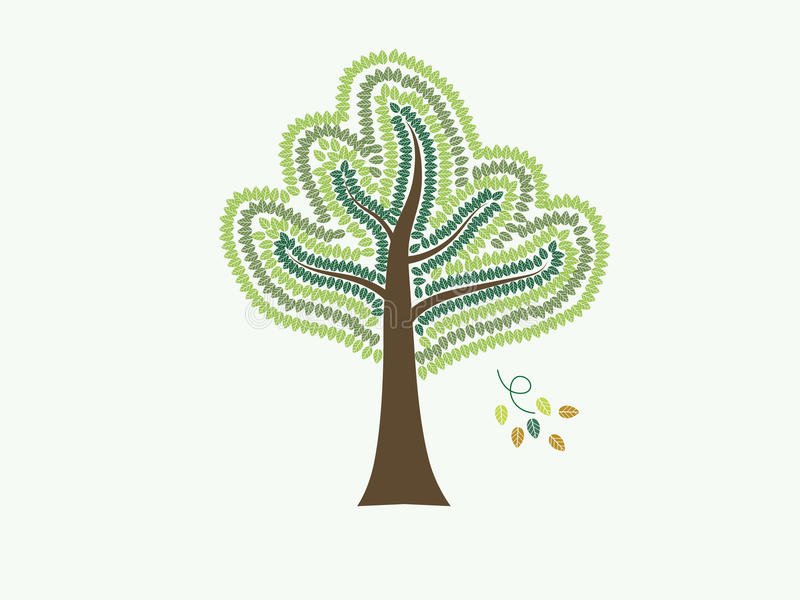 Árvores com vetor verde das folhas ilustração do vetor
