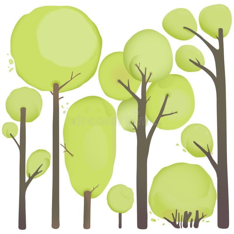 Árvores da aquarela dos desenhos animados ajustadas ilustração do vetor