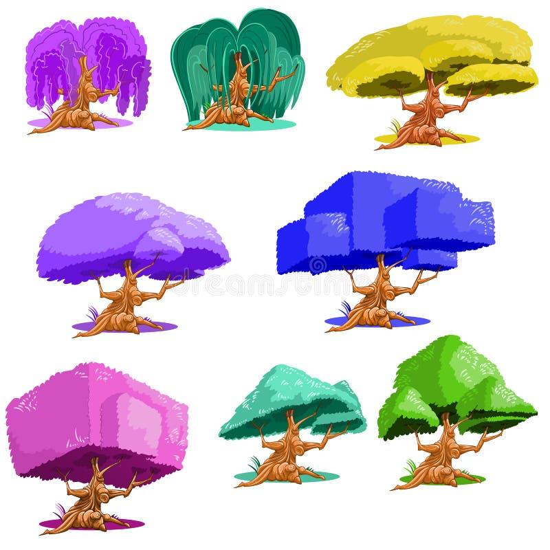 Árvores da fantasia ajustadas no fundo branco ilustração do vetor